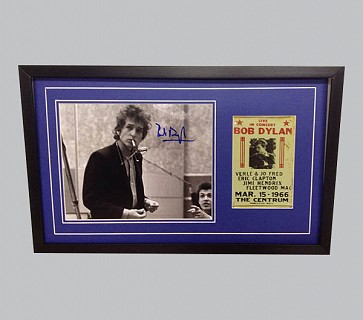 Bob Dylan Signed B&W Photo + Concert Flyer
