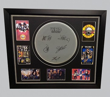 Guns & Roses Signed Drum Skin + 4 Postcards & 3 Colour Photos