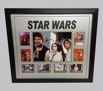 Harrison Ford, Carrie Fisher & Mark Hamill Signed Photo